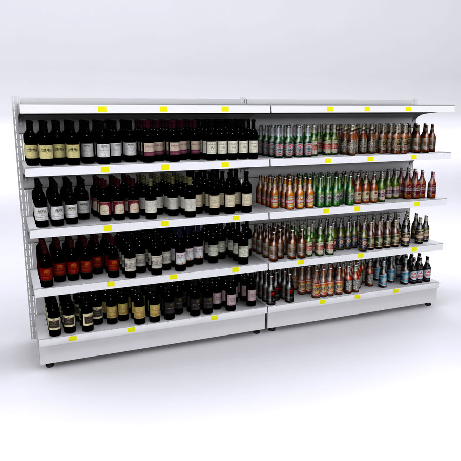 Wine-beer shelves royalty-free 3d model - Preview no. 1