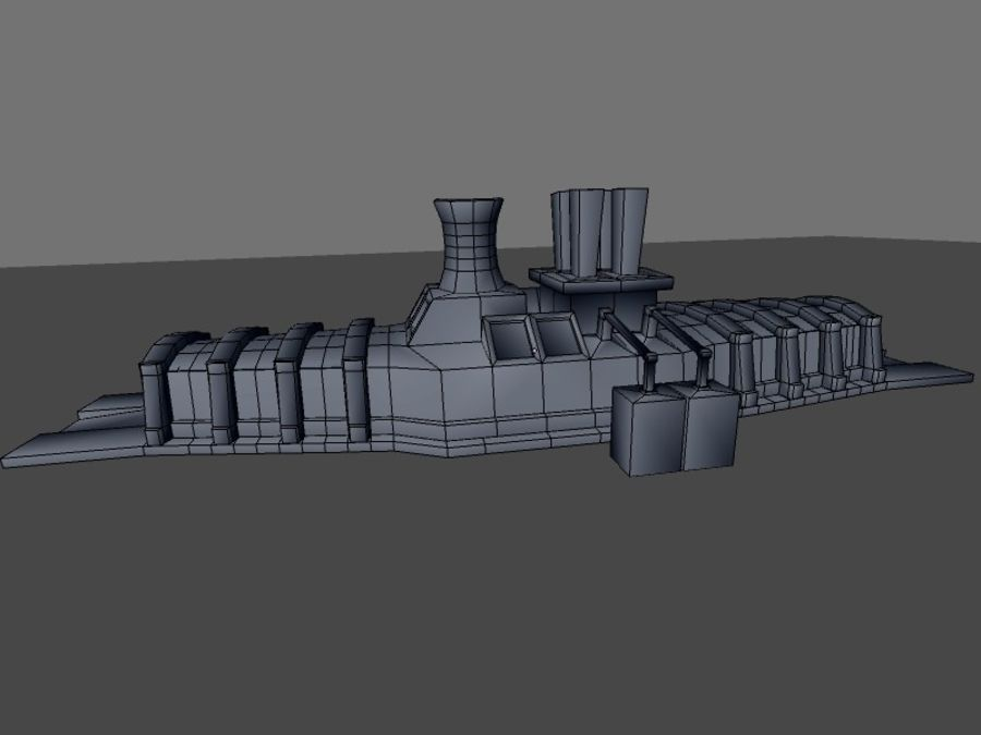 low poly war factory 01 royalty-free 3d model - Preview no. 21
