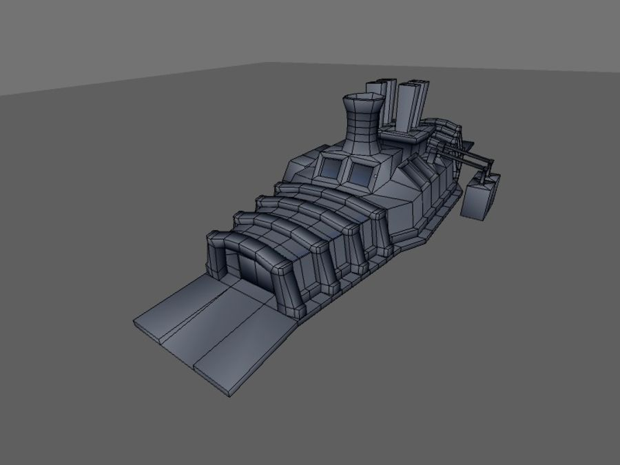 low poly war factory 01 royalty-free 3d model - Preview no. 22