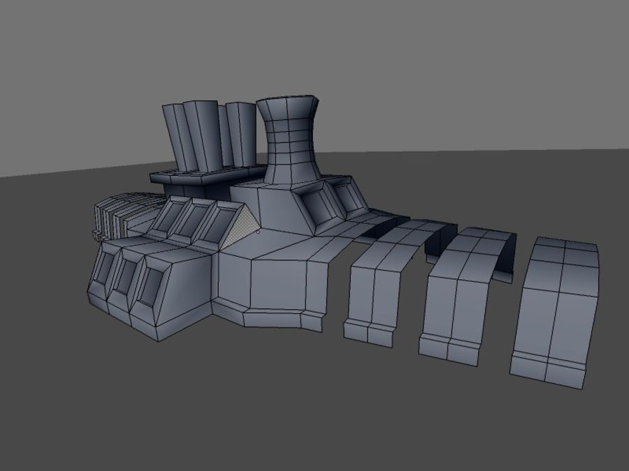 low poly war factory 01 royalty-free 3d model - Preview no. 24