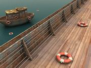 ship metal handrail textured 3d model