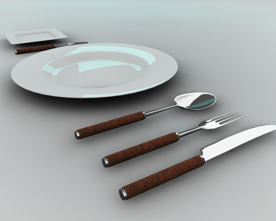 Knife plate fork Spoon royalty-free 3d model - Preview no. 5