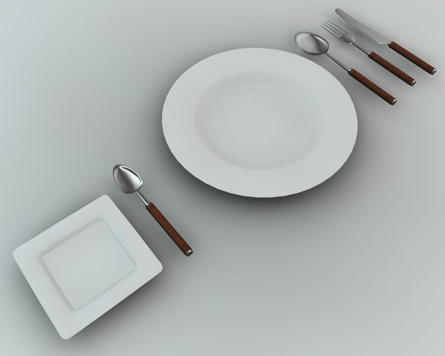 Knife plate fork Spoon royalty-free 3d model - Preview no. 1