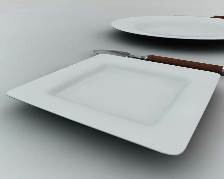 Knife plate fork Spoon royalty-free 3d model - Preview no. 4