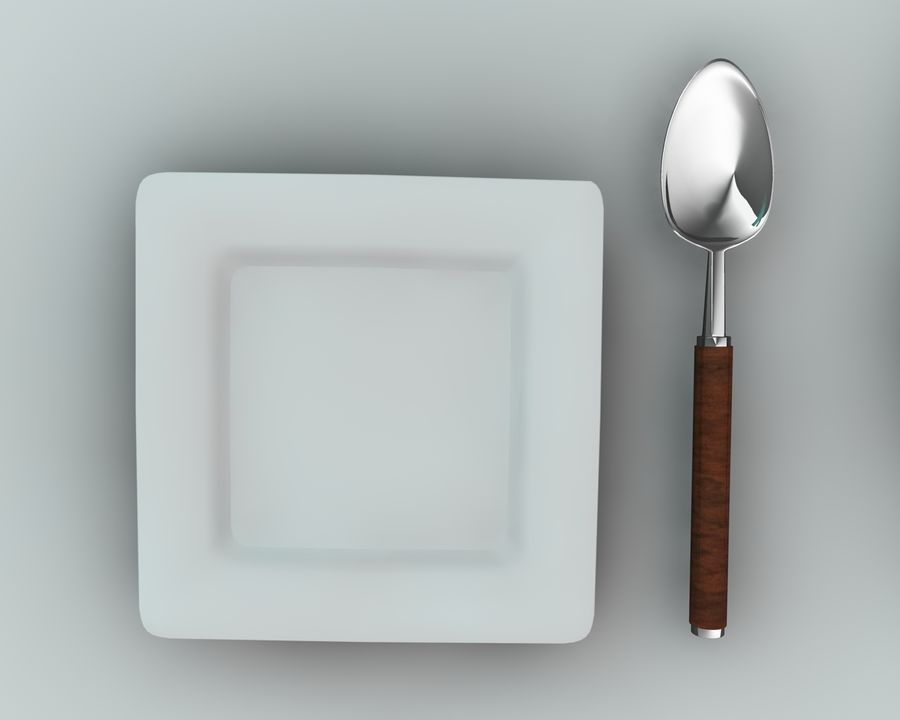 Knife plate fork Spoon royalty-free 3d model - Preview no. 3