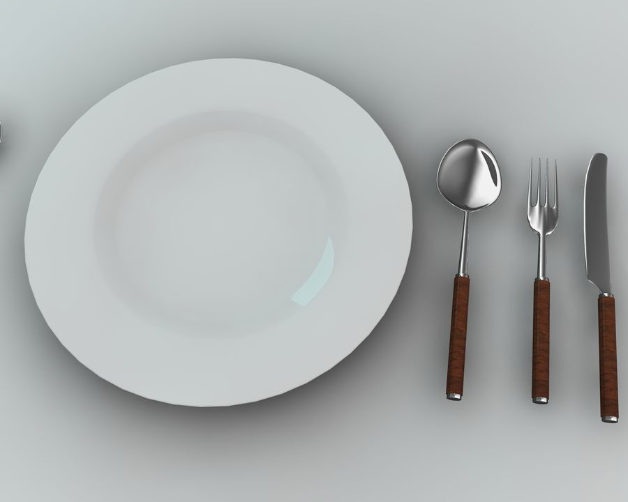 Knife plate fork Spoon royalty-free 3d model - Preview no. 2