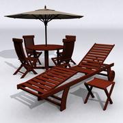 Teak Patio Furniture Set 3d model