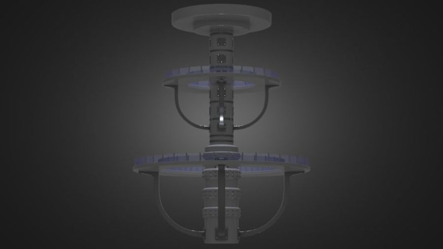 Futuristic Architecture Structure royalty-free 3d model - Preview no. 3