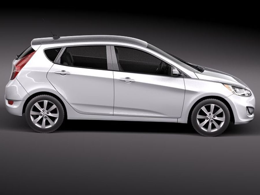 Hyundai Accent hatchback 2012 royalty-free 3d model - Preview no. 7