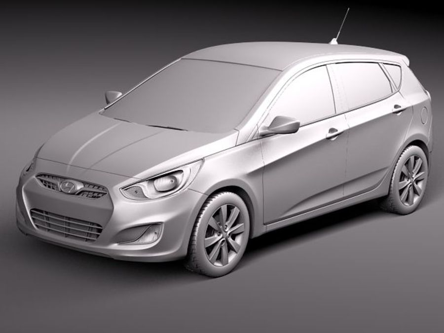 Hyundai Accent hatchback 2012 royalty-free 3d model - Preview no. 12