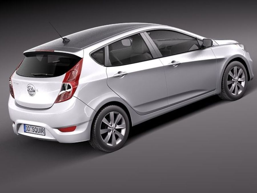 Hyundai Accent hatchback 2012 royalty-free 3d model - Preview no. 5