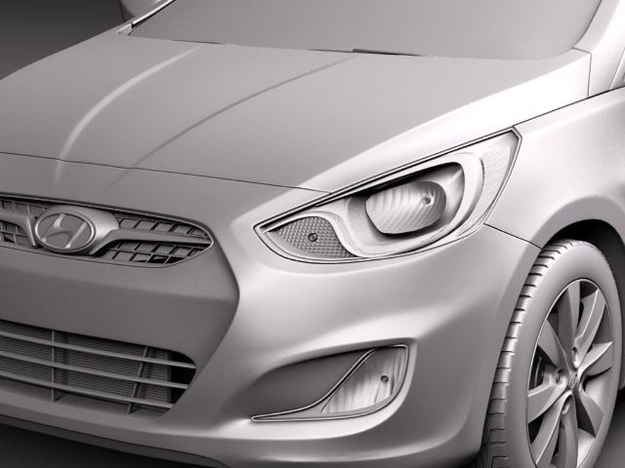 Hyundai Accent hatchback 2012 royalty-free 3d model - Preview no. 11