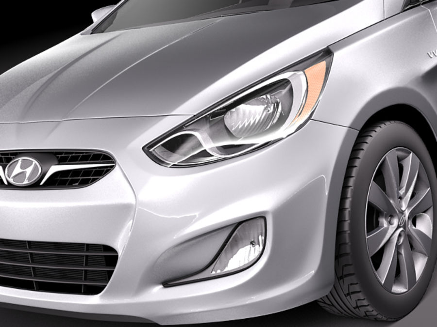 Hyundai Accent hatchback 2012 royalty-free 3d model - Preview no. 15