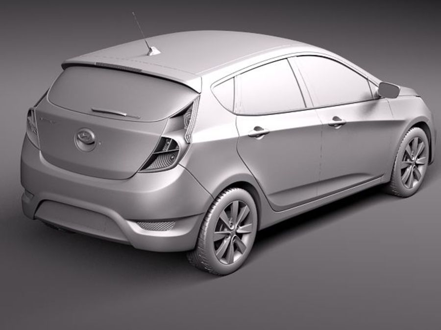 Hyundai Accent hatchback 2012 royalty-free 3d model - Preview no. 9