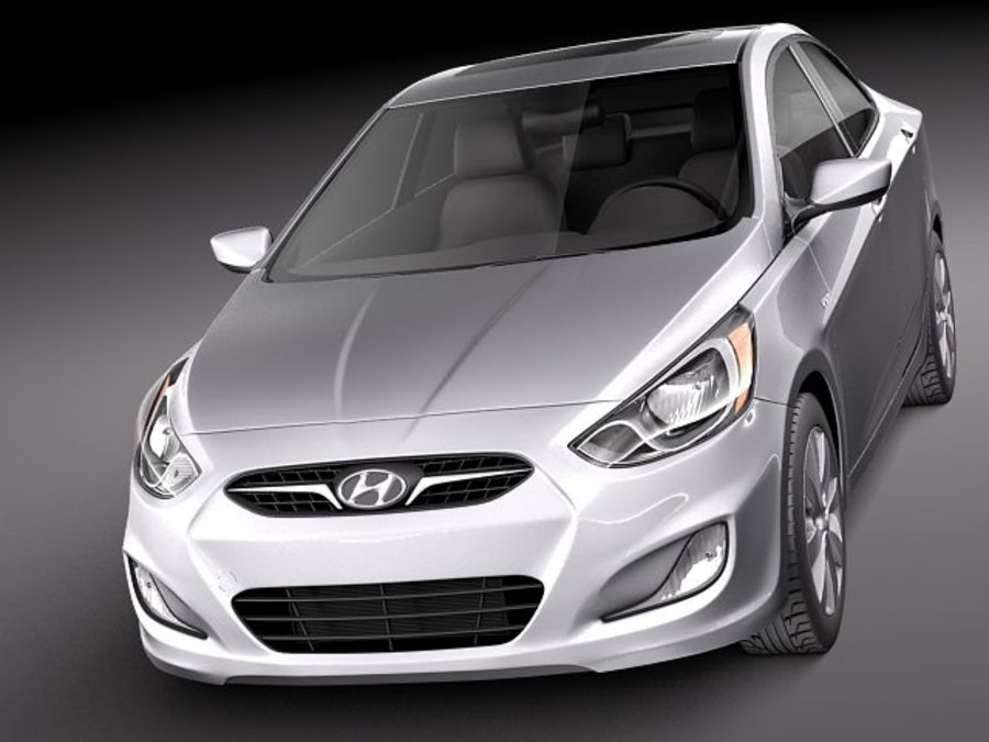 Hyundai Accent hatchback 2012 royalty-free 3d model - Preview no. 14