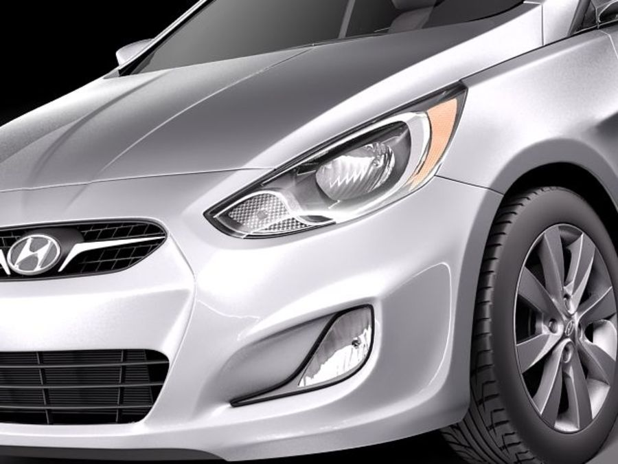 Hyundai Accent hatchback 2012 royalty-free 3d model - Preview no. 3