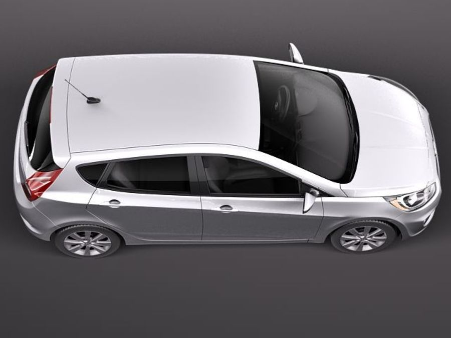 Hyundai Accent hatchback 2012 royalty-free 3d model - Preview no. 8