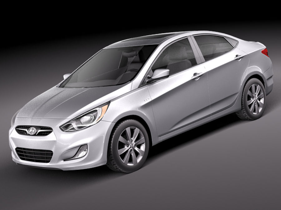Hyundai Accent hatchback 2012 royalty-free 3d model - Preview no. 13