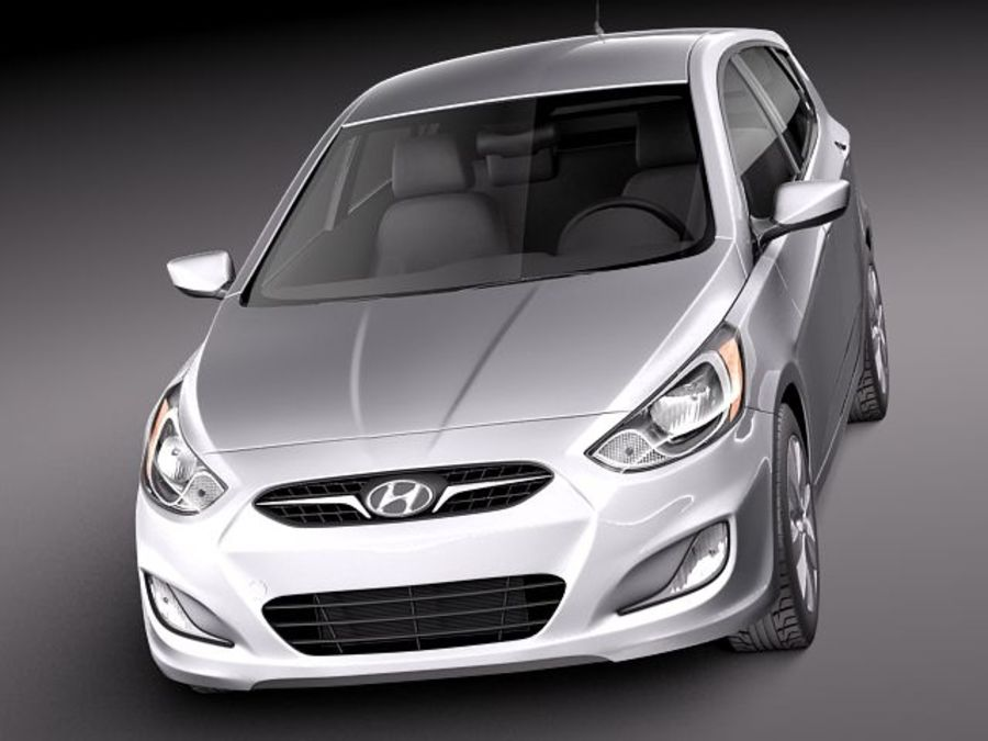 Hyundai Accent hatchback 2012 royalty-free 3d model - Preview no. 2