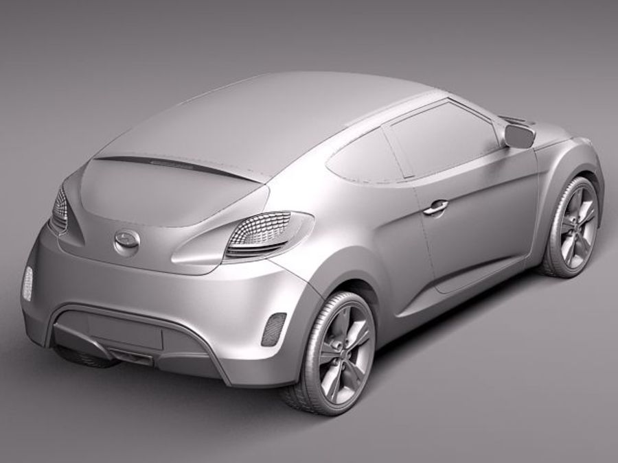 Hyundai Veloster 2012 royalty-free 3d model - Preview no. 9