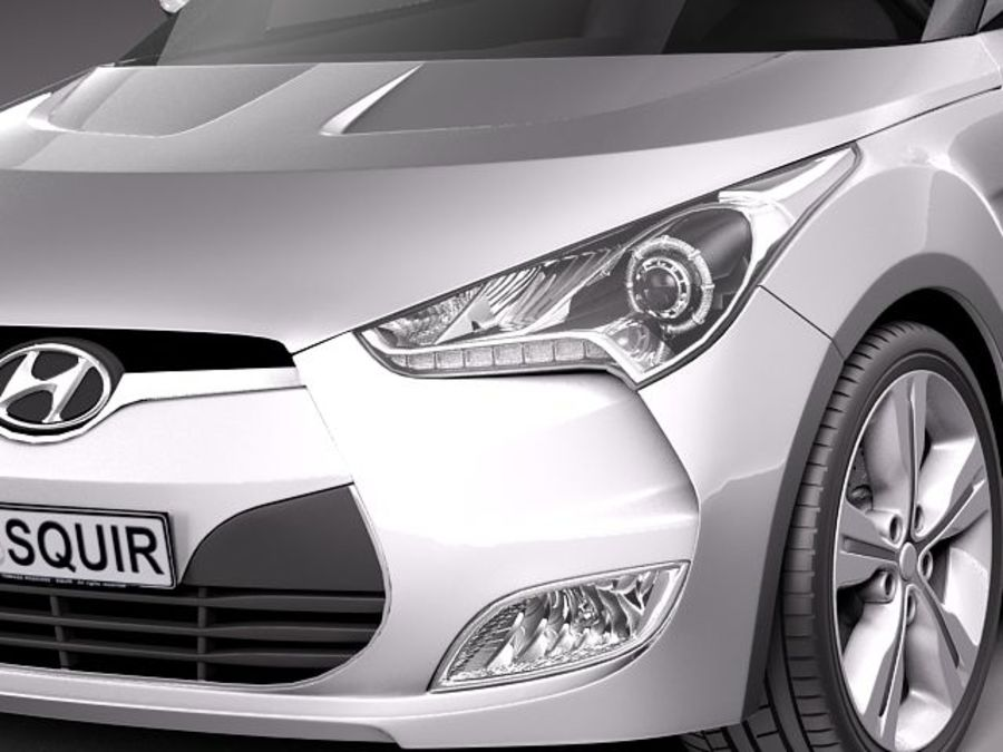 Hyundai Veloster 2012 royalty-free 3d model - Preview no. 3