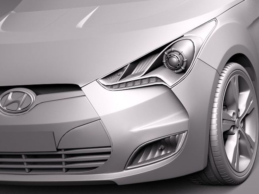 Hyundai Veloster 2012 royalty-free 3d model - Preview no. 11