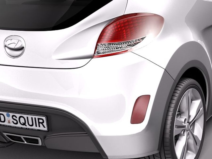 Hyundai Veloster 2012 royalty-free 3d model - Preview no. 4