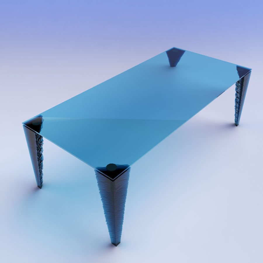 table_Atlas Glass Desk royalty-free 3d model - Preview no. 3