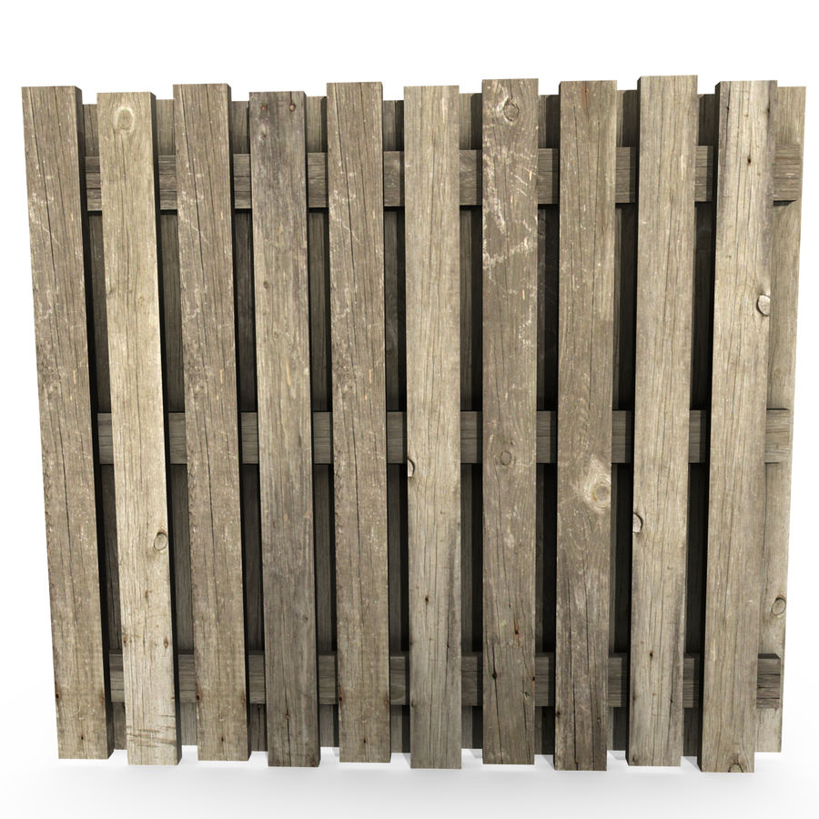 Wood Fence royalty-free 3d model - Preview no. 2