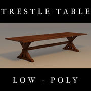 Trestle Table, Low Poly 3d model