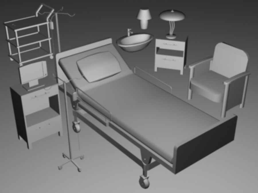 Hospital Scene royalty-free 3d model - Preview no. 4