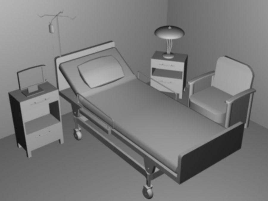 Hospital Scene royalty-free 3d model - Preview no. 1