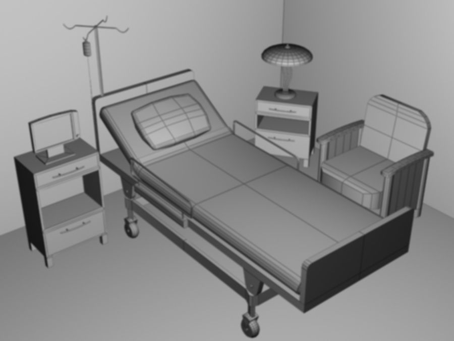 Hospital Scene royalty-free 3d model - Preview no. 2