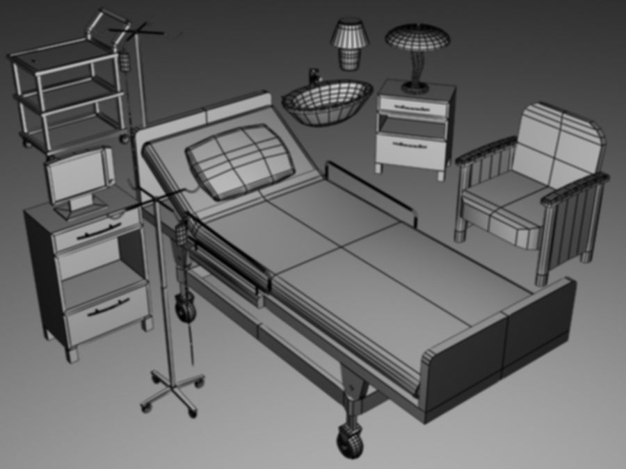 Hospital Scene royalty-free 3d model - Preview no. 3