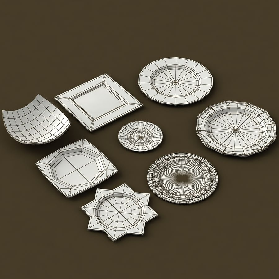 PLATES COLLECTION royalty-free 3d model - Preview no. 11