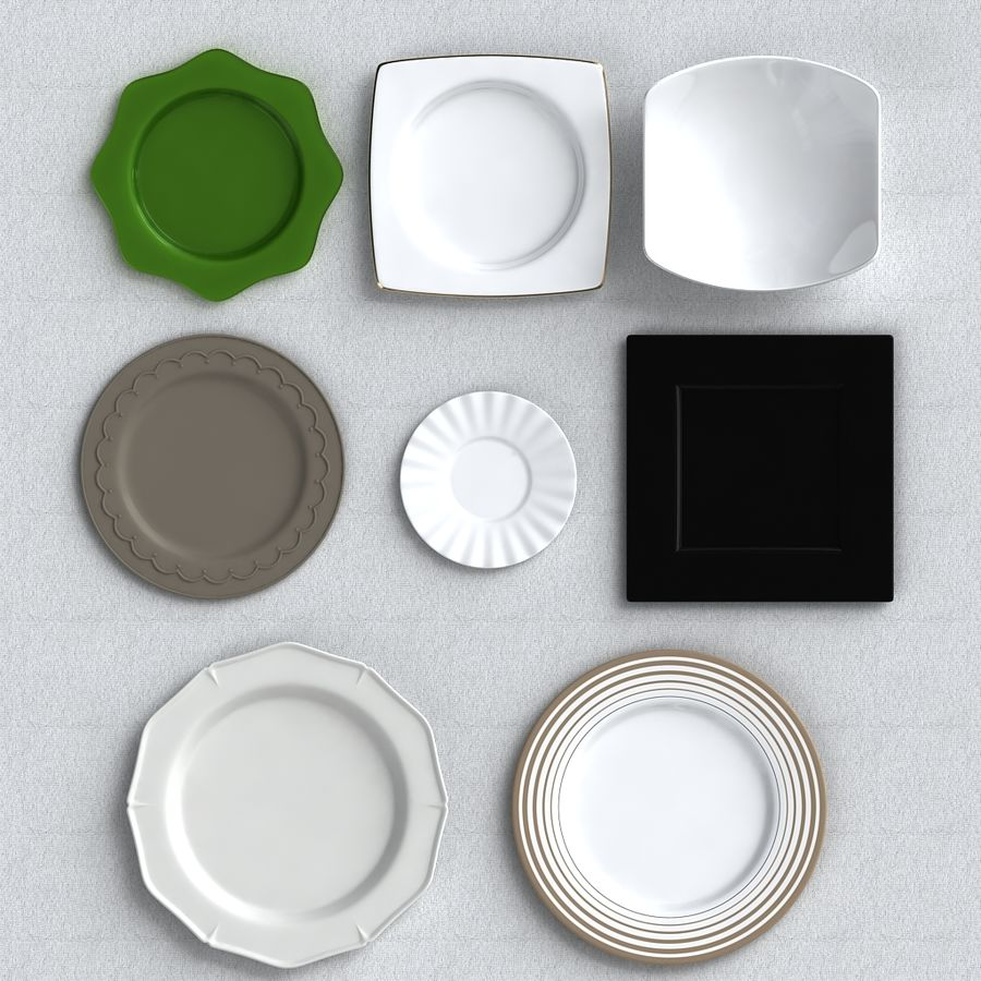 PLATES COLLECTION royalty-free 3d model - Preview no. 2