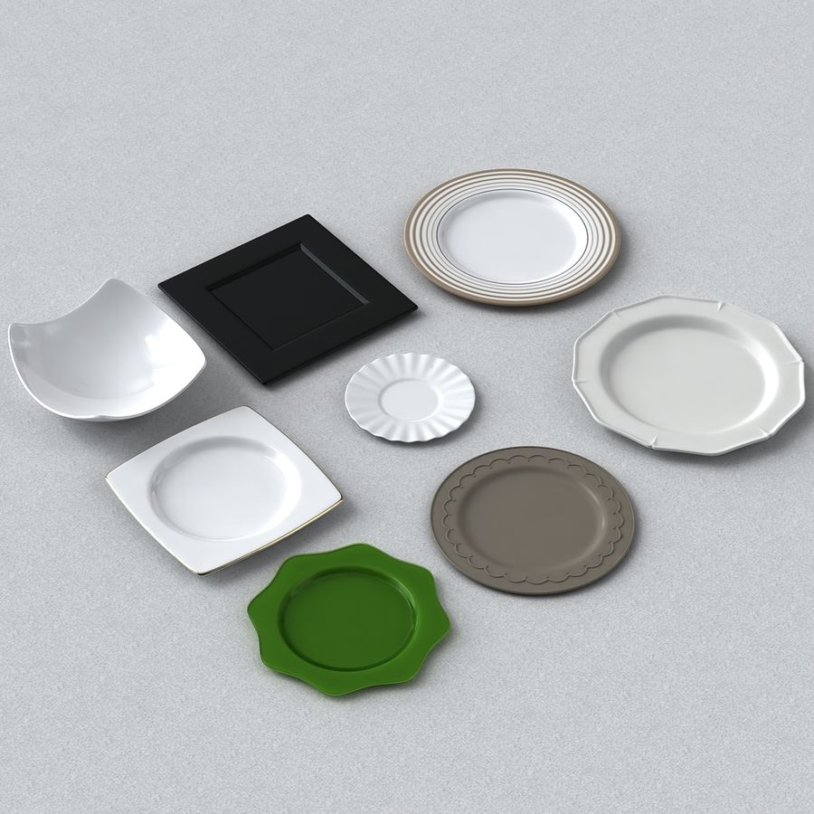 PLATES COLLECTION royalty-free 3d model - Preview no. 1