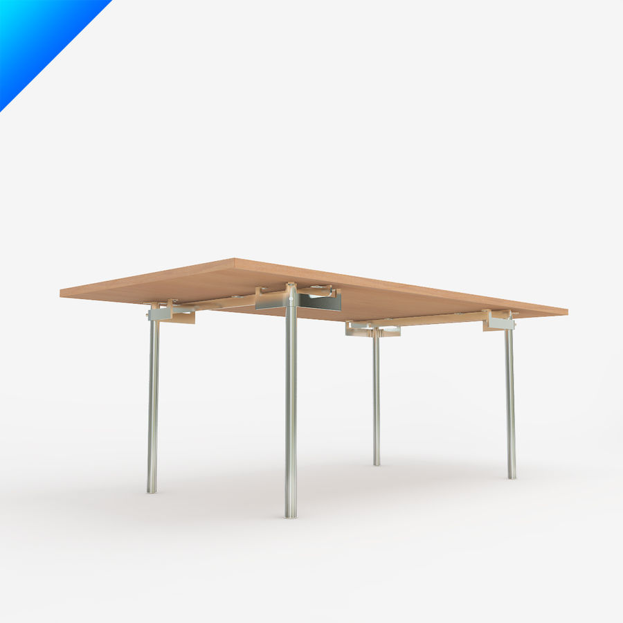 Hans Wegner CH318 Table royalty-free 3d model - Preview no. 5