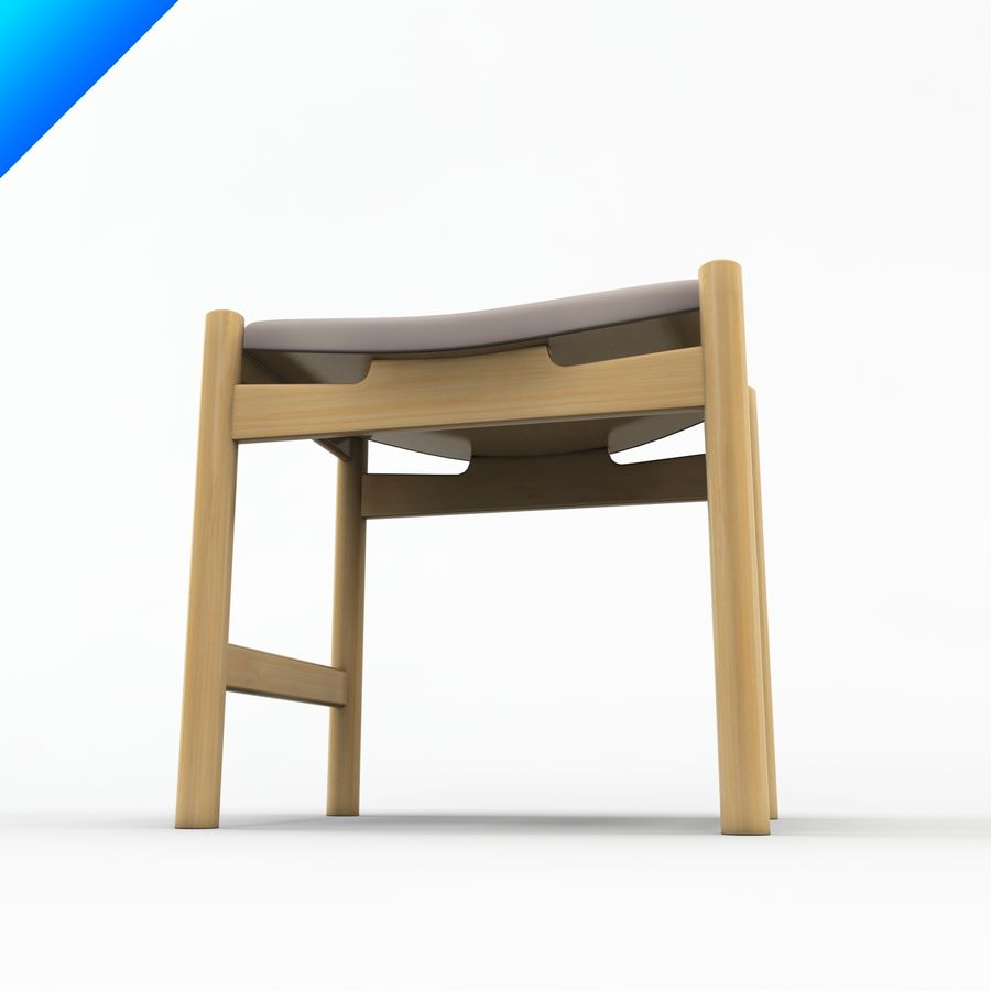 Hans Wegner CH54 Stool royalty-free 3d model - Preview no. 5