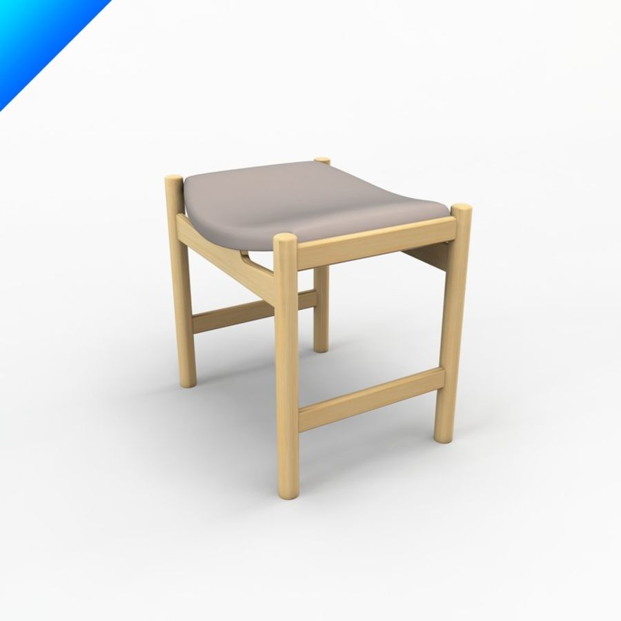 Hans Wegner CH54 Stool royalty-free 3d model - Preview no. 2