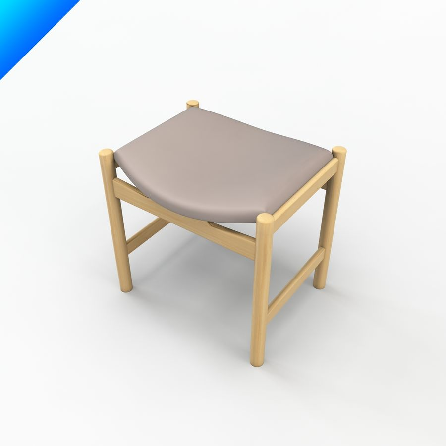 Hans Wegner CH54 Stool royalty-free 3d model - Preview no. 3