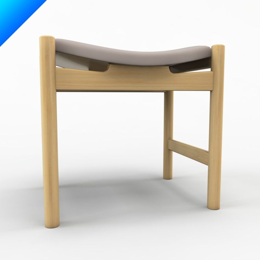 Hans Wegner CH54 Stool royalty-free 3d model - Preview no. 4