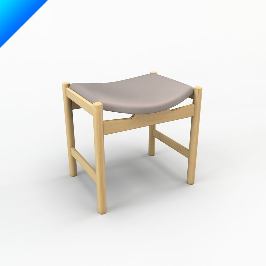 Hans Wegner CH54 Stool royalty-free 3d model - Preview no. 1
