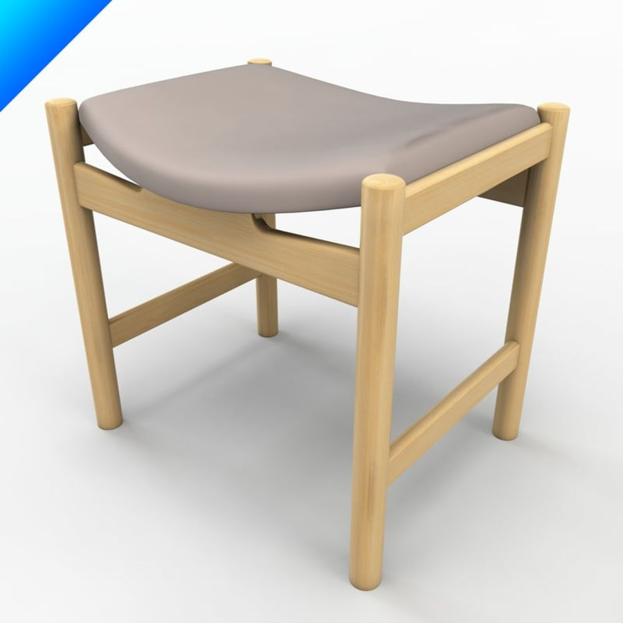 Hans Wegner CH54 Stool royalty-free 3d model - Preview no. 6
