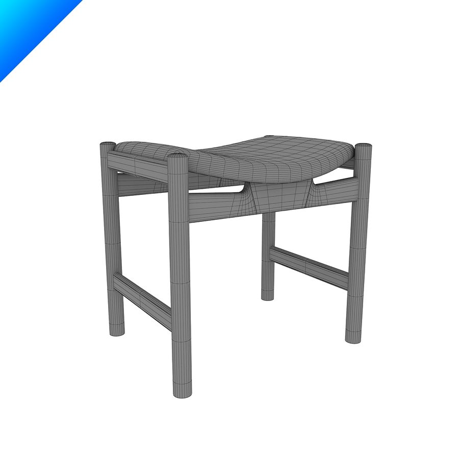 Hans Wegner CH54 Stool royalty-free 3d model - Preview no. 7