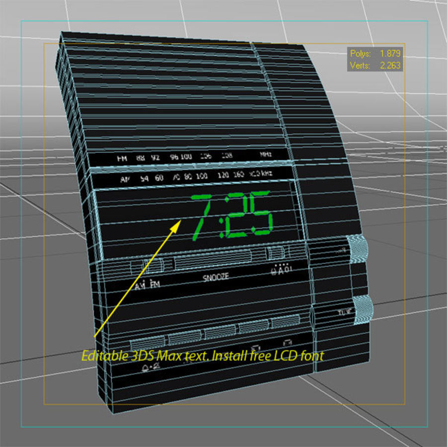 Clock Radio Alarm royalty-free 3d model - Preview no. 4