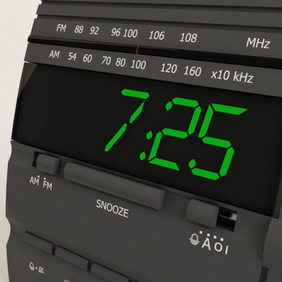 Clock Radio Alarm royalty-free 3d model - Preview no. 3