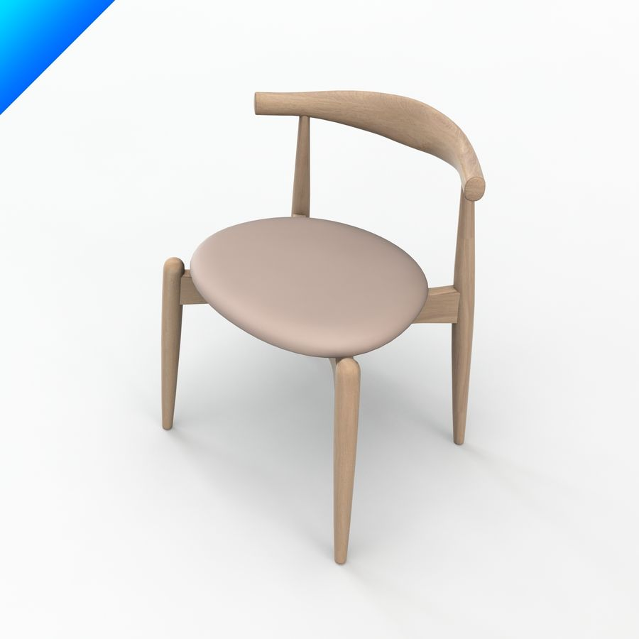Hans Wegner Ch20 Elbow Chair royalty-free 3d model - Preview no. 5