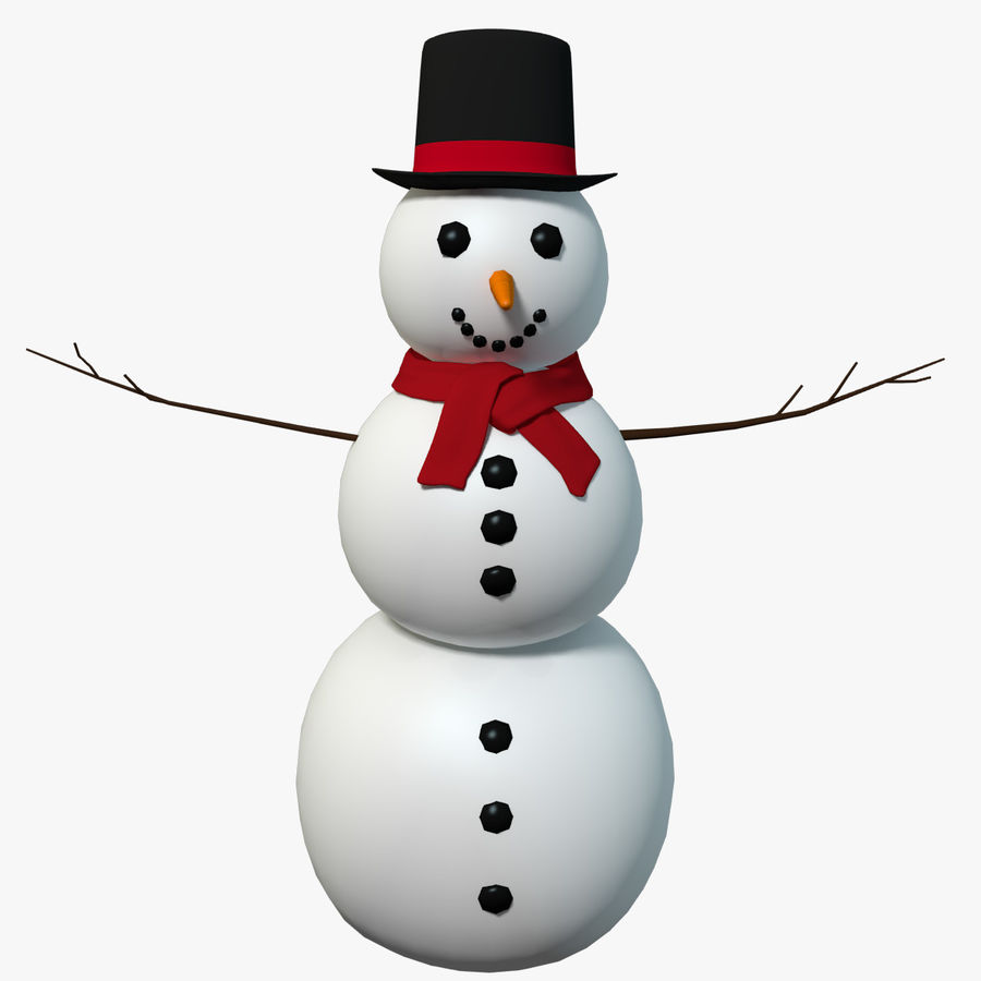 Cartoon Style Snowman royalty-free 3d model - Preview no. 1