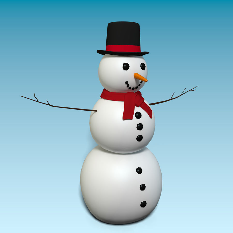 Cartoon Style Snowman royalty-free 3d model - Preview no. 3